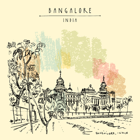 Bangalore (Bengaluru), Karnataka, India. Building in Neo-Dravidian style. Travel sketch. Vintage hand drawn postcard template. Vector illustration Çizim