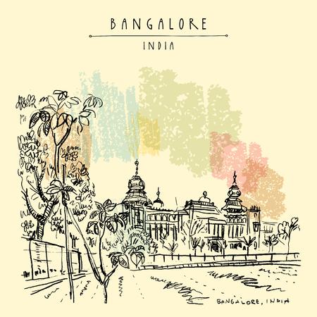 Bangalore (Bengaluru), Karnataka, India. Building in Neo-Dravidian style. Travel sketch. Vintage hand drawn postcard template. Vector illustration Illustration