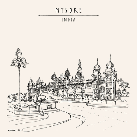 Mysore (Mysuru), Karnataka, India. Mysore palace. Travel sketch. Vintage hand drawn postcard template. Vector 일러스트