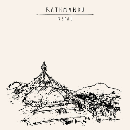 Kathmandu, Nepal, Asia. Boudhanath (Boudha temple). Hand drawn travel postcard. Travel sketch. Hand drawing of Kathmandu in vector. Vintage hand drawn postcard. Vector Nepal illustration  イラスト・ベクター素材