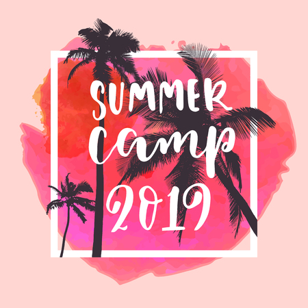 Summer Camp 2019 Modern Calligraphy  Summer Design With Flat