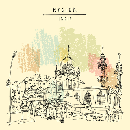 Nagpur, Maharashtra, India. Mosque, market and Muslim library. Travel sketch. Vintage hand drawn postcard or poster. Vector illustration