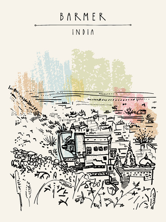 Barmer, Rajasthan, India. View of the city from fort. Hindu temple. Vintage hand drawn touristic postcard. Vector illustration
