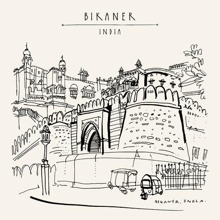 Bikaner, Rajasthan, Inde. Fort de Junagarh. Street view.Auto rickshaws parking. Croquis de voyage, dessin artistique. Carte postale ou affiche touristique vintage dessinée à la main. Illustration vectorielle