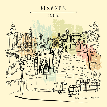 Bikaner, Rajasthan, India. Junagarh fort. Street view.Auto rickshaws parking. Travel sketch, artistic drawing. Vintage hand drawn touristic postcard or poster. Vector illustration