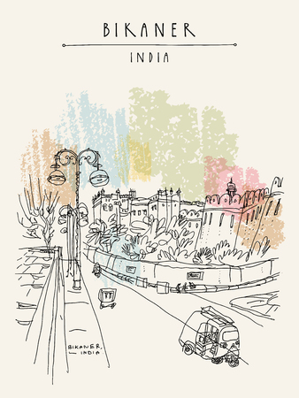 Bikaner, Rajasthan, India. Street view. Road with auto rickshaws and fort on the background. Travel sketch, artistic drawing. Vintage hand drawn touristic postcard or poster. Vector illustration