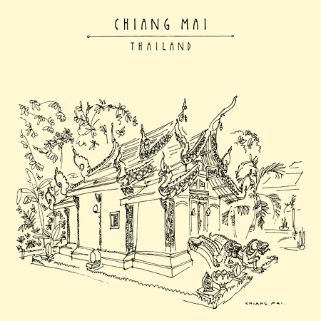 Chiang Mai, Thailand. Wat Umongmahatherachan, old Buddhist temple with soaring wing-shaped roofs. Meditation place. Hand drawn vintage touristic postcard in vector
