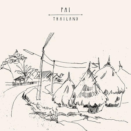 Haystacks in Pai valley, Northern Thailand. Black and white hand drawn vintage artistic postcard template Illustration