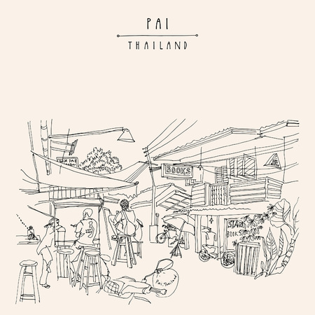Pai, Thailand. Walking street with cafes and shops. Western backpackers traveling in Southeast Asia. Hand drawn vintage travel postcard, poster, booklet or book illustration in vecto