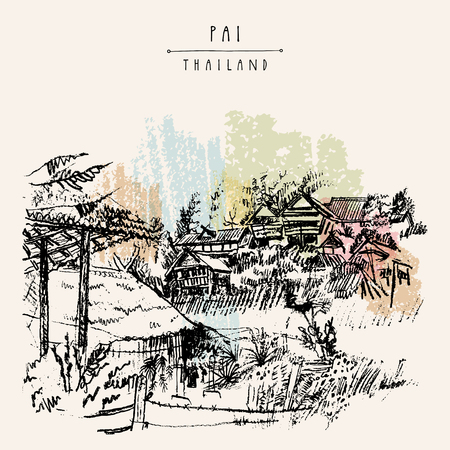 Bamboo huts in Pai valley, Northern Thailand. Atmospheric landscape. Hand drawn vintage artistic postcard template. Vector illustartion