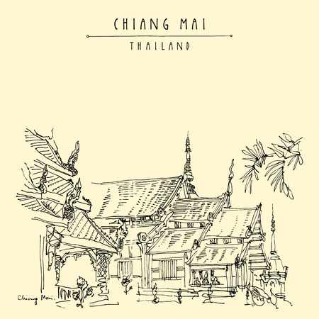 Chiang Mai, Thailand. Wat Phra Singh, highly revered old Buddhist temple with soaring wing-shaped roofs. Famous tourist attraction. Hand drawn vintage touristic postcard in vector