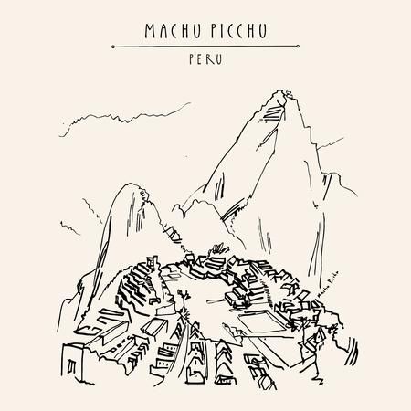 Atemberaubende Aussicht auf Machu Picchu, Peru. Berühmte Inkastadt in den Anden. Künstlerische Hand gezeichnete Postkarte der Weinlese, Plakatschablone, Buchillustration im Vektor