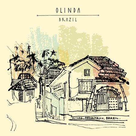 Ein Kolonialhaus Olinda, Brasilien, Südamerika. Handgezeichnete Vintage-Postkarte. Vektor-Illustration Vektorgrafik