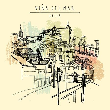 Arquitectura de estilo victoriano en Viña del Mar, Chile, Sudamérica. Postal vintage dibujada a mano