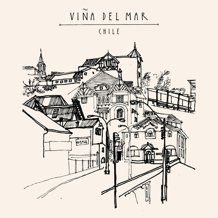 Victorian style architecture in Vina del Mar, Chile, South America. Hand drawn vintage postcard Illustration