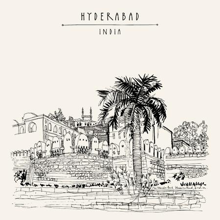 Hyderabad, État du Telangana, Inde. Fort de Golkonda - célèbre site historique. Croquis de voyage. Modèle de carte postale vintage dessiné à la main. Illustration vectorielle