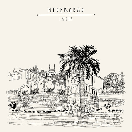 Hyderabad, Telangana state, India. Golkonda fort - famous historical sight. Travel sketch. Vintage hand drawn postcard template. Vector illustration