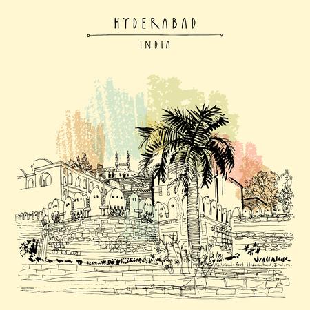 Hyderabad, Telangana state, India. Golkonda fort - famous historical sight. Travel sketch. Vintage hand drawn postcard template. Vector illustration Vetores