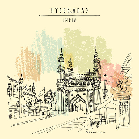 Hyderabad, Telangana state, India. Charminar - famous historical mosque. Travel sketch. Vintage hand drawn Ramadan Kareem or Idul Fitri celebration postcard or poster. Vector book illustration Vetores