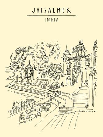 Gadisar (Gadi Sagar) lake in Jaisalmer, Rajasthan, India. Beautiful aged buildings and water. Travel sketch. Vintage hand drawn touristic postcard or poster. Vector illustration Stock Vector - 123612891