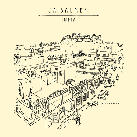 Overview of Jaisalmer, Rajasthan, India. Town street and fort. Vintage hand drawn touristic postcard or poster. Vector illustration