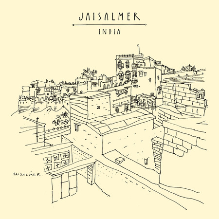 Jaisalmer, Rajasthan, India. Town and fort (Sonar Quila, The Golden Fortress) which stood on the ancient Silk road. Heritage site. Travel sketch. Vintage hand drawn touristic postcard. Vector Illustration