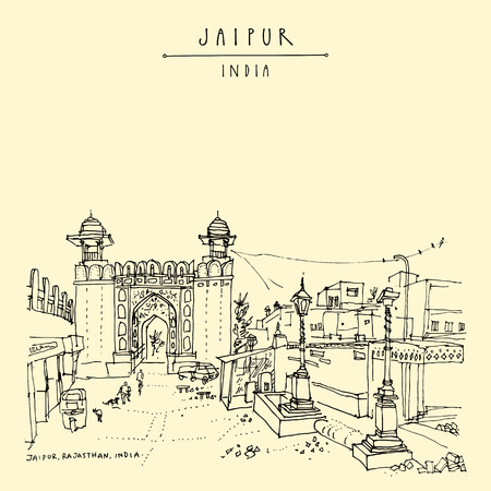 Jaipur, Rajasthan, India. Galta Gate. Heritage site. Jaipur is part of the Golden Triangle touristic rout in India. Architechtural travel sketch. Vintage hand drawn touristic postcard. Vector
