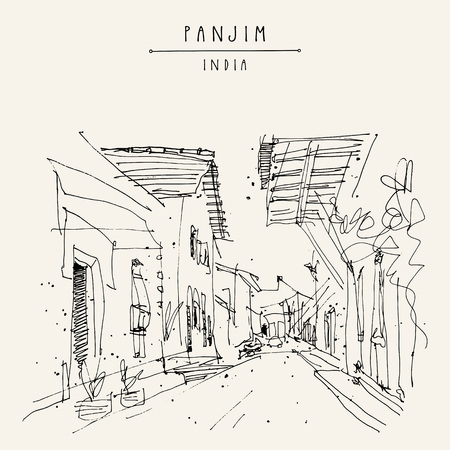 Panjim, India. Street in old town. Portuguese colonial style buildings. Hand drawn cityscape. Quick travel sketch. Vintage artistic postcard, poster template. Vector illustration
