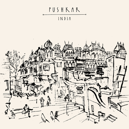 Pushkar, Rajasthan, India. Vintage artistic drawing. Travel sketch. Poster, postcard template with Pushkar India hand lettering. Calendar illustration or coloring book page idea
