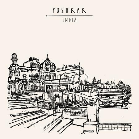 Pushkar, Rajasthan, India. Brahma ghat. Cartolina turistica vintage colorata, modello di poster, idea di pagina del calendario. Disegno a mano abbozzato e titolo con lettere a mano