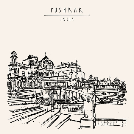 Pushkar, Rajasthan, Indien. Brahma-Ghat. Farbige touristische Postkarte der Weinlese, Plakatschablone, Kalenderseitenidee. Skizzenhafte Handzeichnung und handgeschriebener Titel