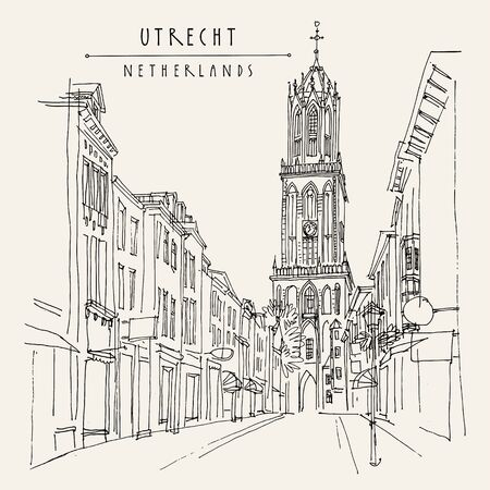 Utrecht, Netherlands, Europe. The Dom Tower (Cathedral Tower) of St. Martin's Cathedral, the tallest church tower in the Netherlands. Travel architecture sketch. Vintage hand drawn postcard. Vector Ilustração