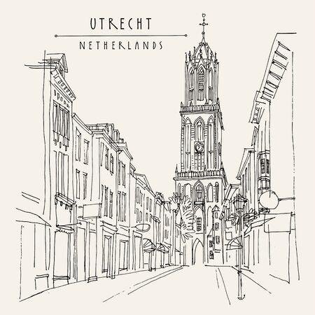 Utrecht, Paesi Bassi, Europa. La Torre del Duomo (Torre della Cattedrale) della Cattedrale di San Martino, il campanile più alto dei Paesi Bassi. Schizzo di architettura di viaggio. Cartolina disegnata a mano d'epoca. Vettore