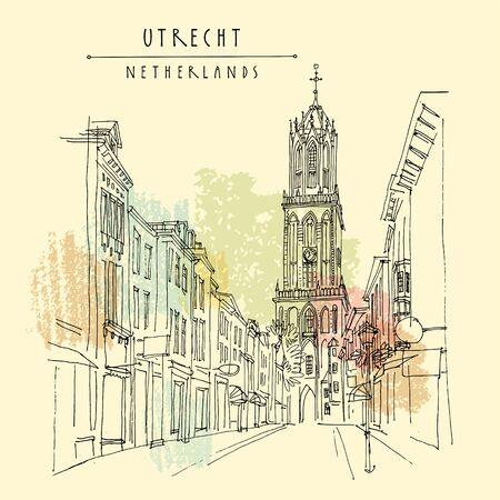 Utrecht, Netherlands, Europe. The Dom Tower (Cathedral Tower) of St. Martins Cathedral, the tallest church tower in the Netherlands. Travel architecture sketch. Vintage hand drawn postcard. Vector Illustration