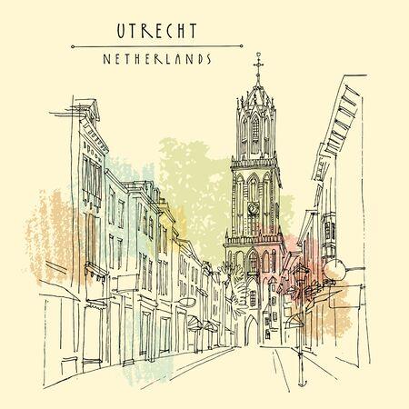 Utrecht, Niederlande, Europa. Der Domturm (Domturm) der St.-Martins-Kathedrale, der höchste Kirchturm der Niederlande. Architekturskizze reisen. Vintage handgezeichnete Postkarte. Vektor