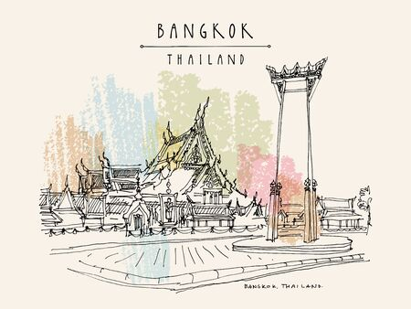 Bangkok, Thailand, Asia. Giant Swing (Sao Ching Cha) and Wat Suthat historical landmarks. Travel sketch. Artistic vintage hand drawn touristic postcard. Vector illustration
