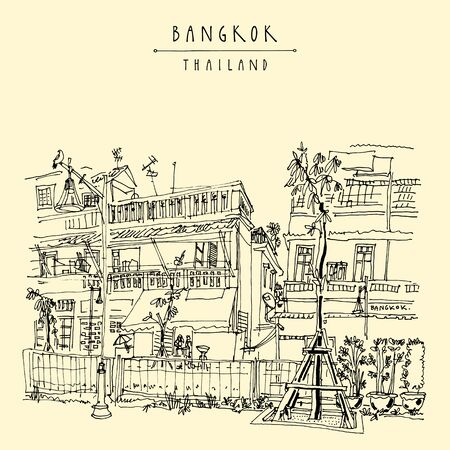 Bangkok, Thailand, Asia. Renovated canal Klong Ong Ang. Old laid back traditional houses in Chinatown. Travel sketch. Artistic vintage hand drawn touristic postcard. Vector illustration