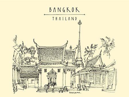 Bangkok, Thailand, Asia. Wat Chana Songkhram Ratchaworawihan, monastery near Khaosan Road. Buddhist temple. Travel sketch. Vintage hand drawn touristic postcard. Vector illustration