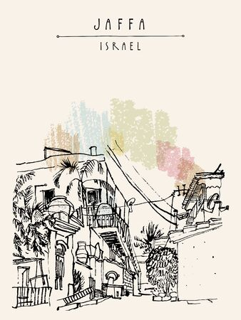 Jaffa (Yafo), Tel Aviv, Israel. Grungy black ink brush outline drawing of houses and trees. Travel sketch. Hand drawn vintage touristic postcard, poster template. Artistic vector illustration