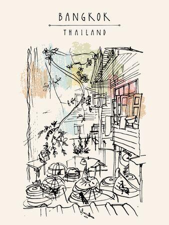 Chicken cages in a backyard in old Bangkok, Thailand. Vertical vintage touristic handdrawn postcard, poster or book illustration in vector Illusztráció