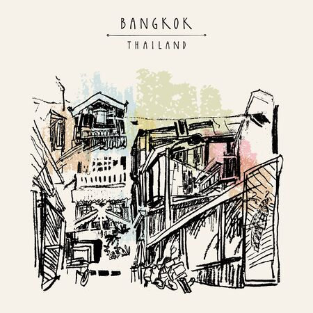 Bangkok, Thailand, Asia. Old laid back traditional houses in a poor neighborhood. Travel sketch. Artistic vintage hand drawn touristic postcard. Vector illustration