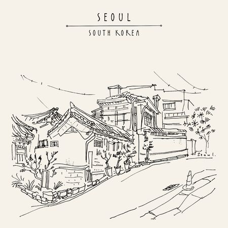 Seoul, South Korea, Asia. Traditional Korean Hanok houses. Hanok Bukchon. Hand drawing in retro style. Travel sketch. Vintage touristic postcard, poster or book illustration in vector