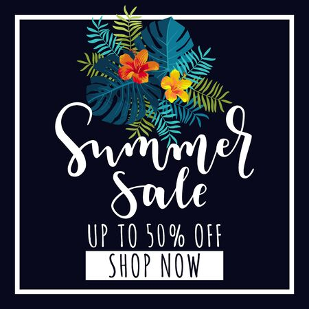 Summer Sale banner. Up to 50 per cent discount offer. Tropical design with monstera leaves and hibiscus flowers. Bright jungle vivid optimistic juicy colors. Bouncy lettering. Vector illustration