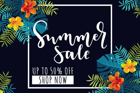 Summer Sale horizontal banner. Up to 50 per cent discount offer. Tropical design with monstera leaves and hibiscus flowers. Bright jungle vivid optimistic juicy colors. Bouncy lettering. Vector Illustration