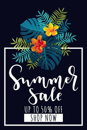 Summer Sale vertical banner. Up to 50 per cent discount offer. Tropical design with monstera leaves and hibiscus flowers. Bright jungle vivid optimistic juicy colors. Bouncy lettering. Vector