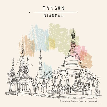 Yangon (Rangoon), Myanmar (Burma), Southeast Asia. The Karaweik Hall, also known as Karaweik Palace, on Kandawgyi Royal Lake. Hand drawn cityscape sketch. Travel art. Vintage artistic postcard. Vector