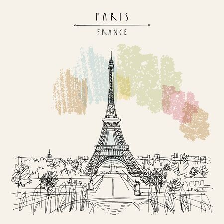 Paris, France, Europe. Eiffel Tower. Artistic hand drawing in retro style. European travel sketch. Vintage hand drawn touristic postcard, poster or book illustration in vector 写真素材 - 129396444