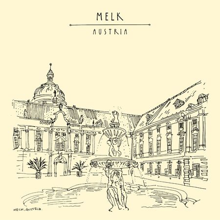 Melk, Lower Austria. Austria, Europe. Fountain at Prelates Courtyard in Melk Benedictine Abbey. Hand drawing. Travel sketch. Vintage touristic postcard, poster, brochure or book illustration in vector