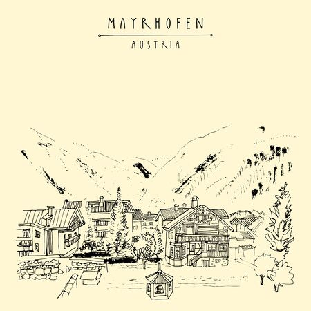 Mayrhofen, Tirol, Austria, Europe. Famous ski resort. Traditional Tirol houses in the valley. Hand drawing. Travel sketch. Vintage touristic postcard, poster, brochure or book illustration in vector Illustration