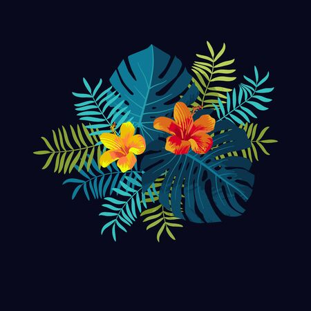 Tropical Summer bouquet with monstera leaves and hibiscus flowers. Bright jungle composition. Vivid optimistic juicy colors. Exotic tropical floral  backdrop. Botanical flower background